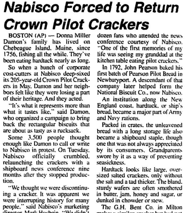 An article about Nabisco, Brunswick News newspaper article 5 February 1997