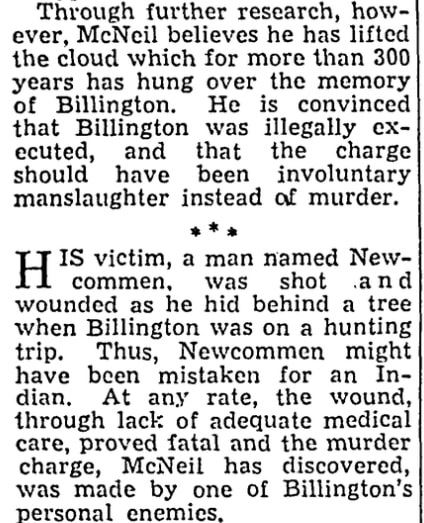 An article about the Mayflower passengers, Chicago Sun newspaper article 24 June 1945