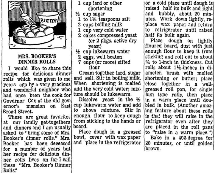 Dinner rolls recipe, Columbus Dispatch newspaper article 2 February 1972