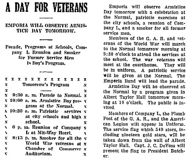 An article about Armistice Day, Emporia Gazette newspaper article 10 November 1919