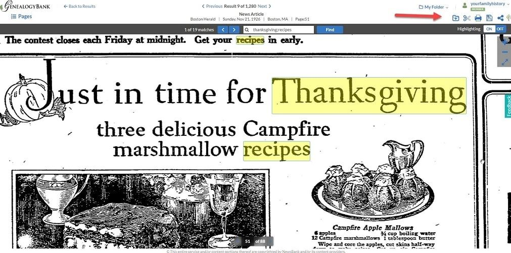 "GenealogyBank screenshot showing the ""My Folder"" feature"