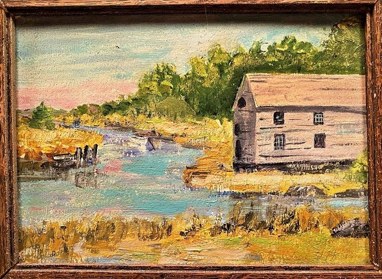 """Illustration: """"Old Grist Mill at Knight's Crossing, Newbury, Massachusetts,"""" by Mildred S. Harston"""