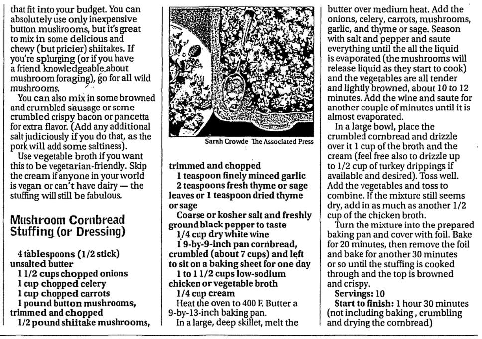 Cornbread stuffing recipe, Las Vegas Review-Journal newspaper article 14 November 2018