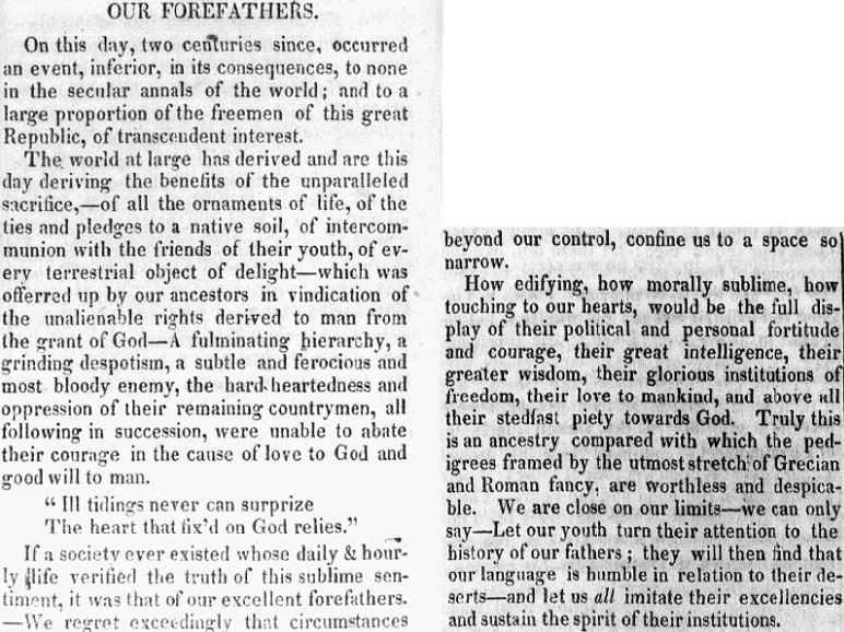 An article about the Mayflower, Maine Intelligencer newspaper article 22 December 1820