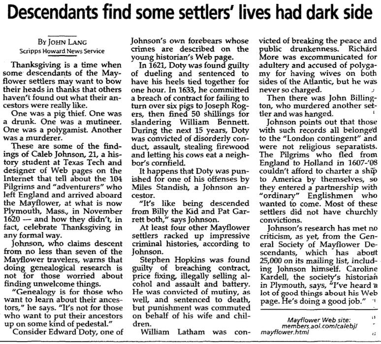 An article about the Mayflower passengers, Milwaukee Journal Sentinel newspaper article 27 November 1997
