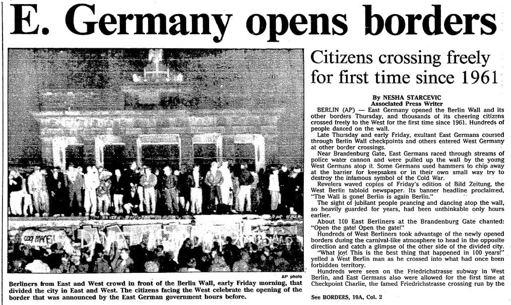 An article about the opening of the Berlin Wall, Mobile Register newspaper article 10 November 1989