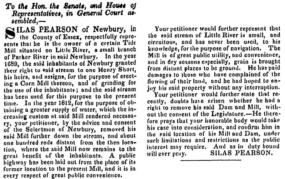 An article about Pearson's mill, Newburyport Herald newspaper article 8 February 1831