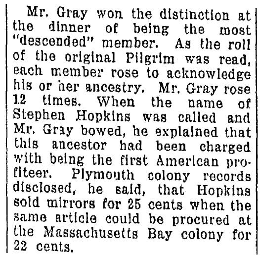 An article about the Mayflower passengers, Omaha World-Herald newspaper article 24 November 1929