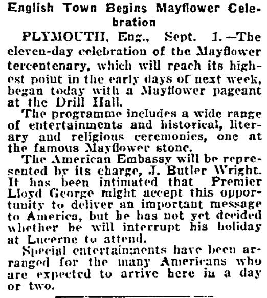 An article about celebrating the 300th anniversary of the arrival of the Mayflower, Philadelphia Inquirer newspaper article 2 September 1920