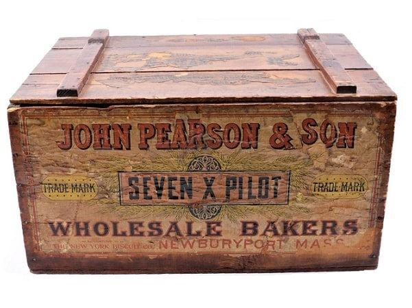Photo: John Pearson & Son crate. John Person & Son was a wholesale bakery and founder of the sugar wafers, first established in the late 1700s. It was bought out by the New York Biscuit Company in the late 1800s, later renamed Nabisco. Permission to publish: Everything but the House Antiques.
