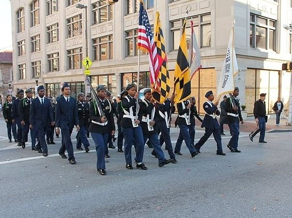 Photo: Veterans Day parade in Baltimore, Maryland, 2016. Credit: Elvert Barnes; Wikimedia Commons.