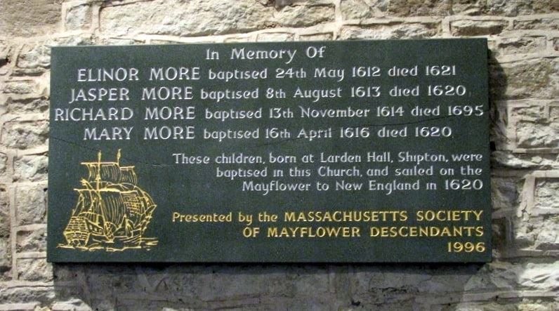 Photo: Mayflower plaque in St James' Church in Shipton, Shropshire, England, commemorating the More children's baptism