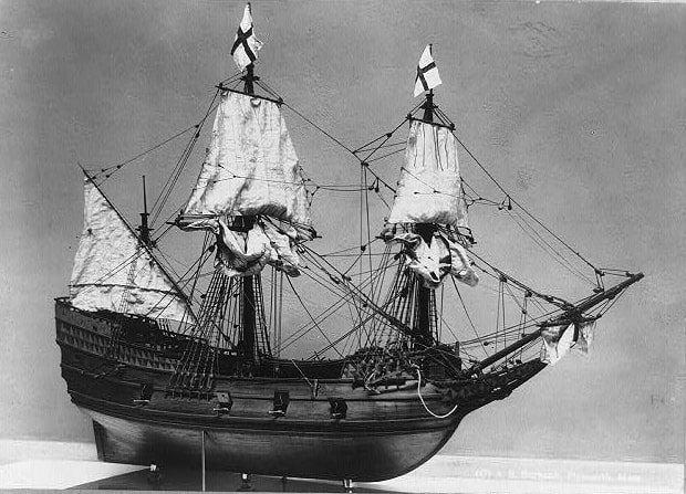 Photo: ship model of the Mayflower at Pilgrim Hall, c. 1905