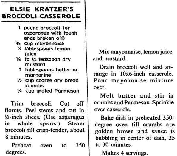 Broccoli casserole recipe, Plain Dealer newspaper article 26 April 1981