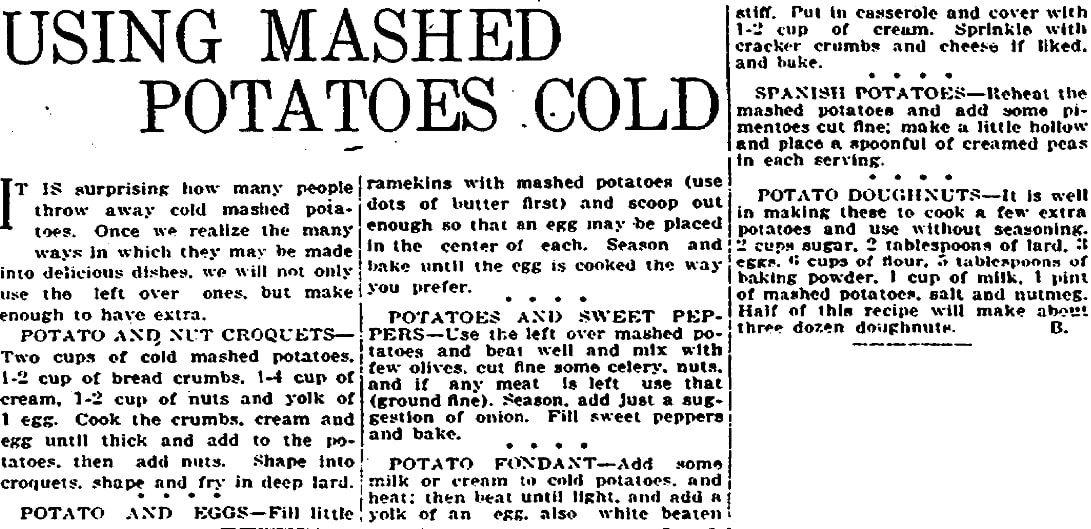 Potato recipes, Plain Dealer newspaper articles 7 May 1916