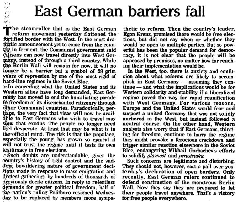 An article about the opening of the Berlin Wall, Plain Dealer newspaper article 10 November 1989