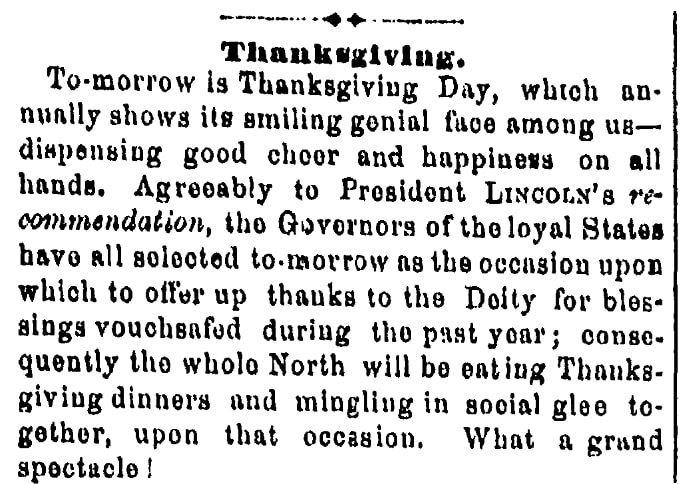 An article about Thanksgiving, Plain Dealer newspaper article 25 November 1863