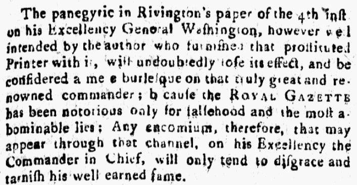 An article about James Rivington, Political Intelligencer newspaper article 23 December 1783