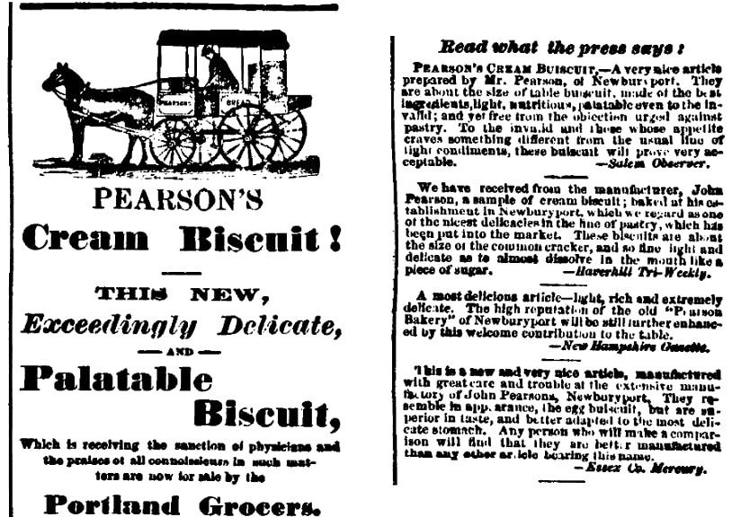 An ad for Pearson's bakery, Portland Daily Press newspaper article 7 October 1867