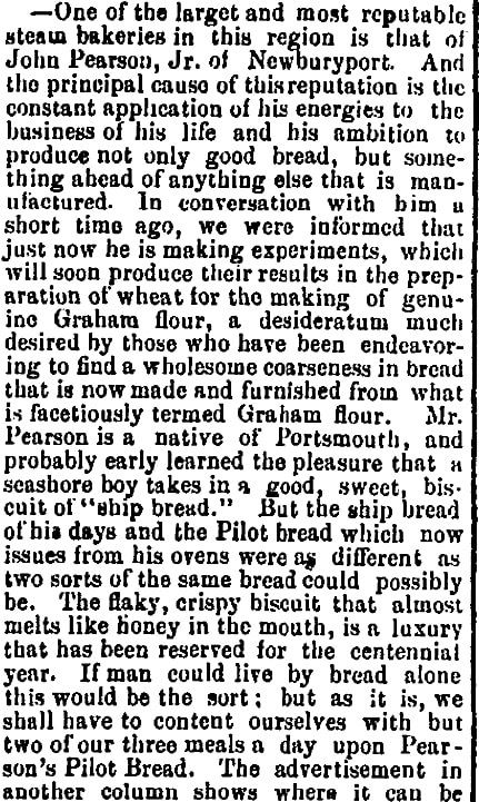 An article about Pearson's bakery, Portsmouth Journal of Literature and Politics newspaper article 17 June 1876