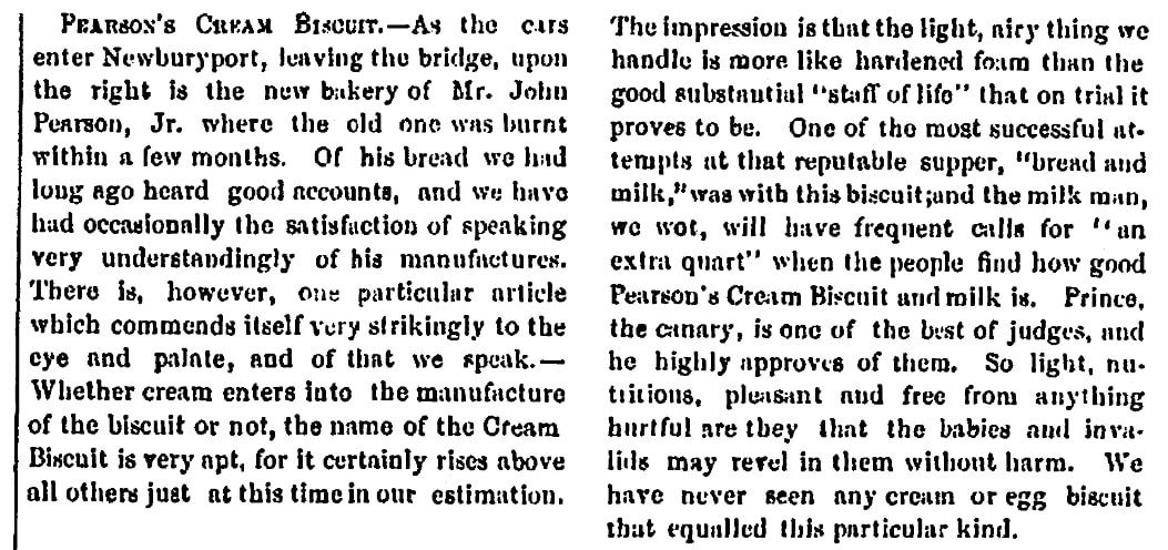 An article about Pearson's bakery, Portsmouth Journal of Literature and Politics newspaper article 10 July 1869
