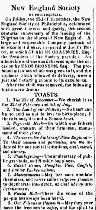 An article about Thanksgiving, Poulson's American Daily Advertiser newspaper article 30 December 1820