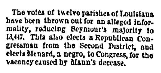 An article about John Menard, Public Ledger newspaper article 27 November 1868