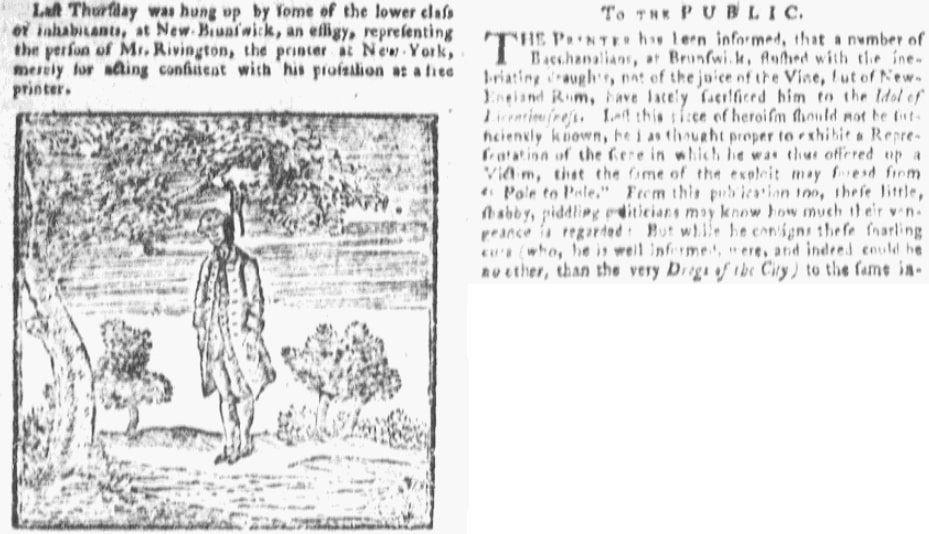 An article about James Rivington, Rivington's New-York Gazetteer newspaper article 20 April 1775