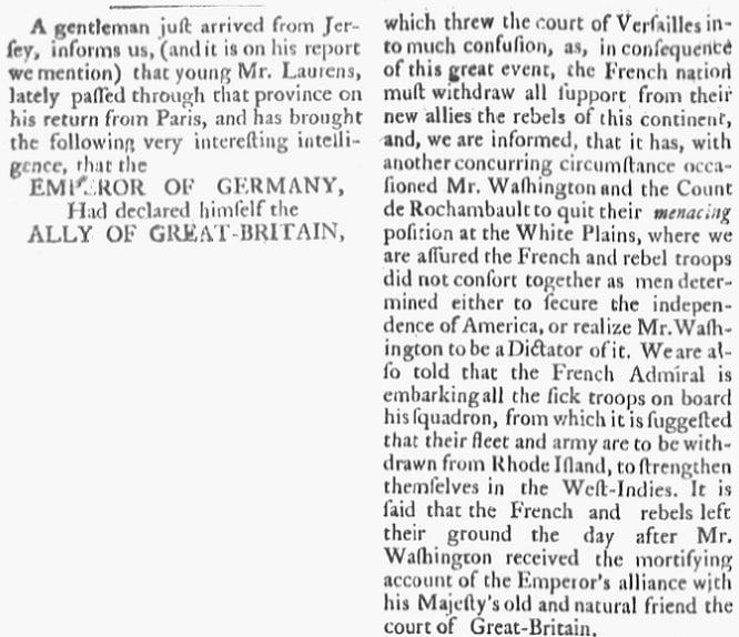 An article about George Washington, Royal Gazette newspaper article 25 August 1781
