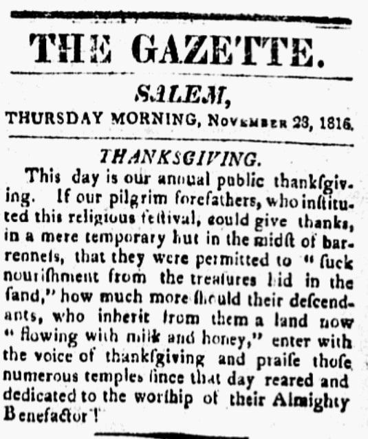 An article about Thanksgiving, Salem Gazette newspaper article 28 November 1816