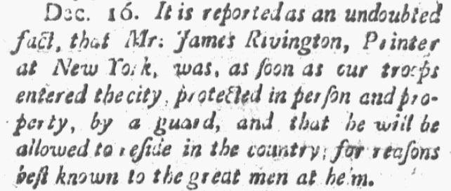 An article about James Rivington, Spooner's Vermont Journal newspaper article 31 December 178