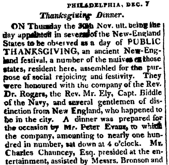 An article about Thanksgiving, Sun newspaper article 23 December 1815