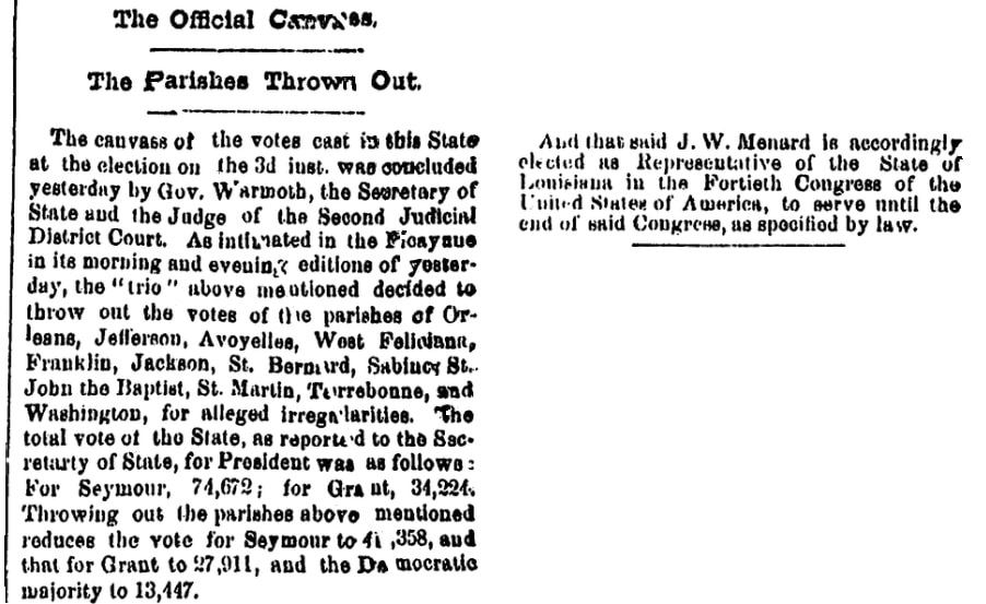 An article about John Menard, Times-Picayune newspaper article 27 November 1868