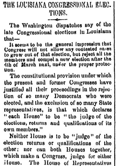 An article about John Menard, Times-Picayune newspaper article 2 December 1868
