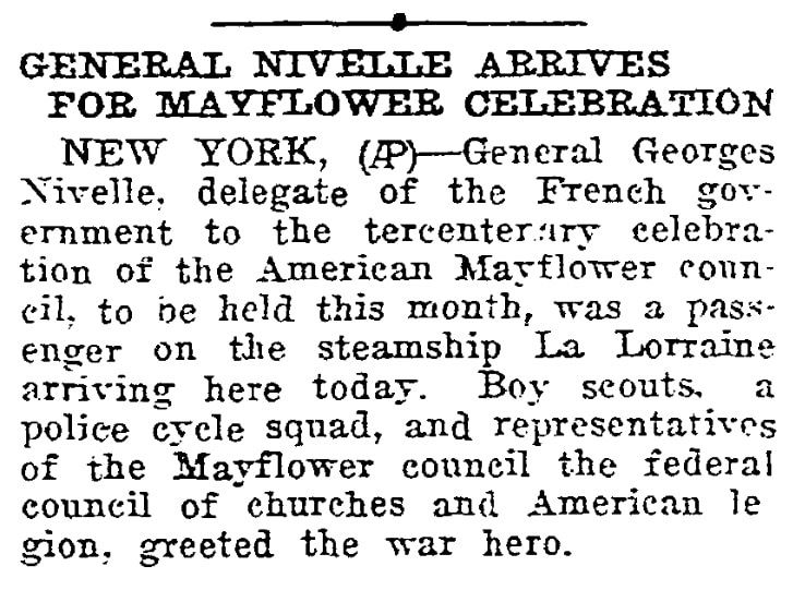 An article about celebrating the 300th anniversary of the arrival of the Mayflower, Twin Falls Daily News newspaper article 8 November 1920