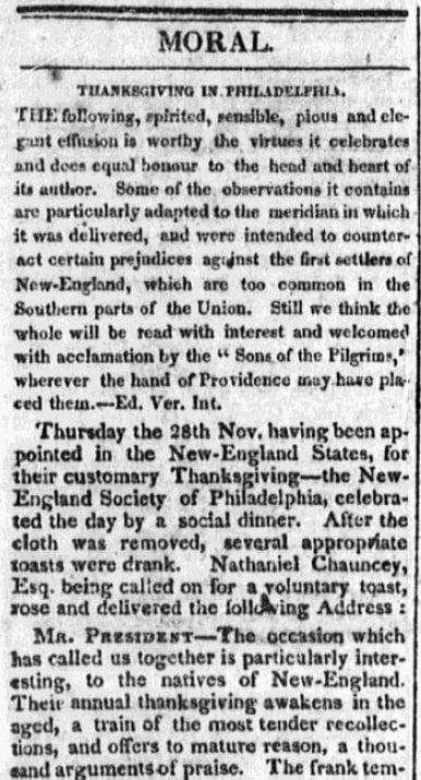 An article about Thanksgiving, Vermont Intelligencer and Bellows' Falls Advertiser newspaper article 27 January 1817