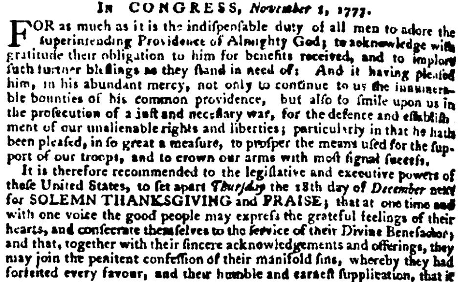 An article about Thanksgiving, Virginia Gazette newspaper article 14 November 1777