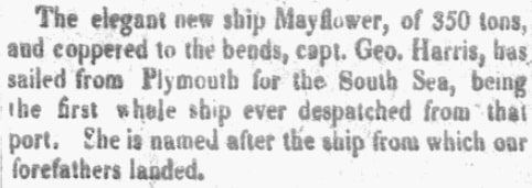 An article about a ship named Mayflower, Washington Gazette newspaper article 11 October 1821