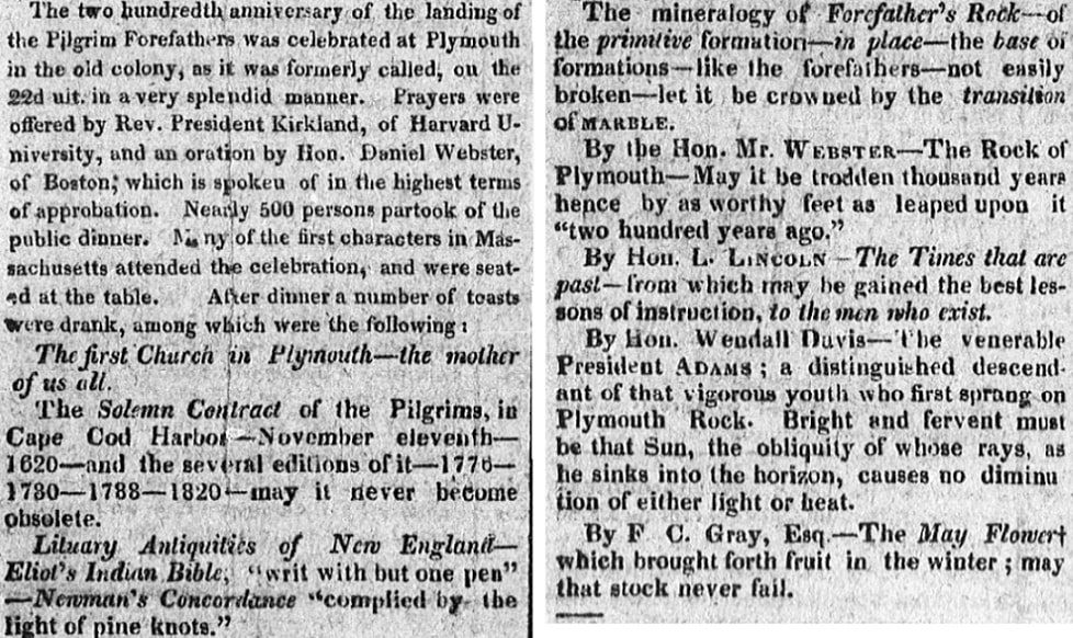 An article about the Mayflower, Woodstock Observer newspaper article 2 January 1821