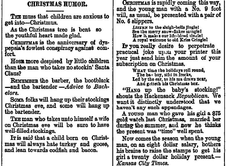 Christmas humor, Anderson Intelligencer newspaper article 23 December 1880