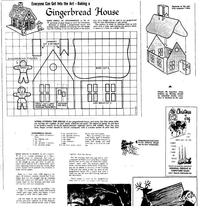 A recipe for a gingerbread house, Augusta Chronicle newspaper article 24 December 1971