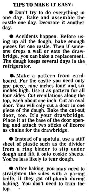 Tips for building a gingerbread house, Boston Herald newspaper article 8 December 1977