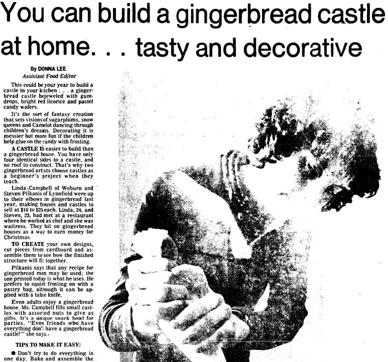 A recipe for a gingerbread house, Boston Herald newspaper article 8 December 1977