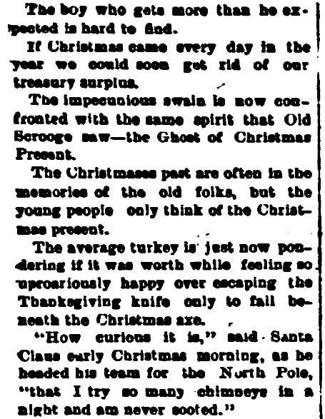 Christmas humor, Cambria Freeman newspaper article 20 December 1889