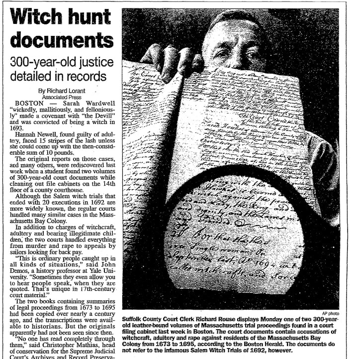 An article about court records from the Massachusetts Bay Colony, Daily Advocate newspaper article 10 July 1996