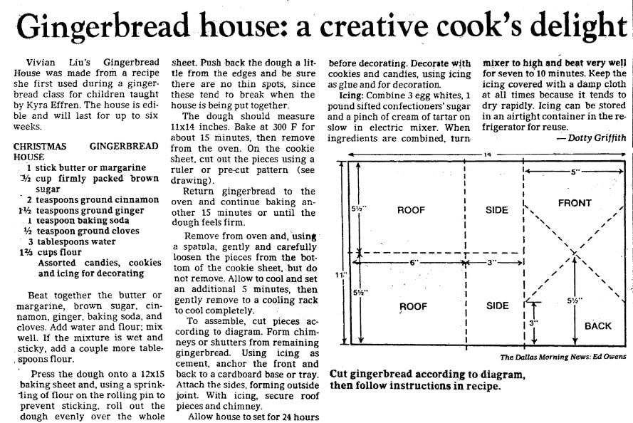 A recipe for a gingerbread house, Dallas Morning News newspaper article 8 December 1983