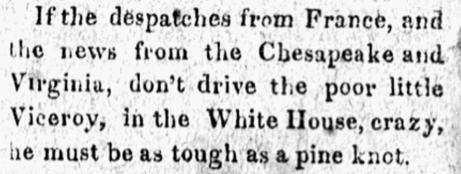 An article about the White House, Federal Republican newspaper article 10 February 1813