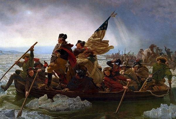 "Illustration: ""Washington Crossing the Delaware"" by Emanuel Leutze, 1851. Credit: The Metropolitan Museum of Art; Wikimedia Commons."