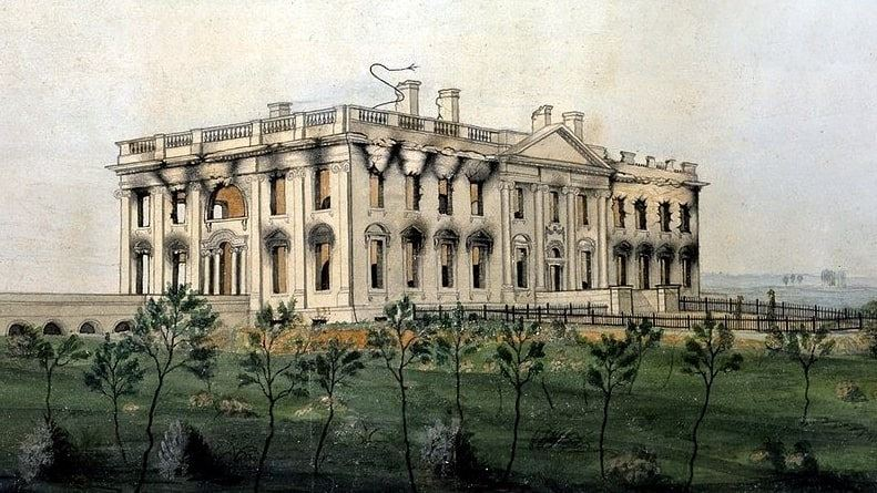 Illustration: the White House as it looked after the British set fire to it on 24 August 1814, by George Munger, 1814-1815