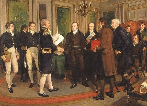 "Illustration: ""The Signing of the Treaty of Ghent, Christmas Eve, 1814,"" by Amédée Forestier, 1914. Credit: Smithsonian American Art Museum; Wikimedia Commons."